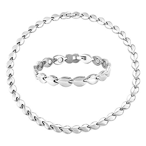 N+NITROLUBE Women Magnetic Therapy Bracelet and Necklace Jewelry Set Fashion Stainless Steel Magnetic Bracelets Necklaces Silver