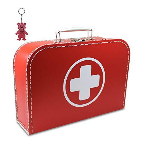 Arztkoffer Pappe rot mit weißem Kreuz 35 cm inkl. 1 Anhänger Reflektorbärchen, Kinderkoffer, Malkoffer, Spielzeugkoffer, Reisekoffer, Puppenkoffer, Pappkoffer, Doktor-Koffer