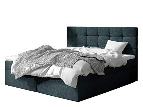 Cama con somier con 2 cajones de almacenaje, colchón y Topper, Cama Continental, Cama tapizada, Cama Americana, Cama Doble, cabecero tapizado (Azul)