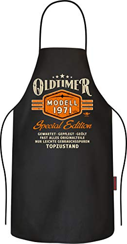 Lobo Negro Grillschürze Kochschürze Küchenschürze als Geschenk zum 50.Geburtstag: Oldtimer Modell 1971