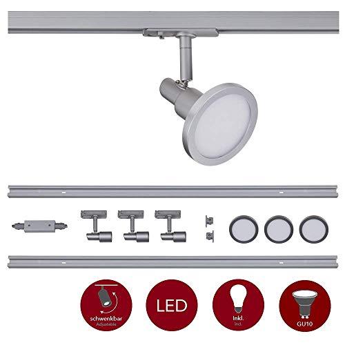 famlights 1-Phasen Schienensystem-Set Silber 2m inkl. 3 Spots und Leuchtmittel GU10   zur individuellen Innen-Beleuchtung, schwenkbare Decken-Spots, Strahler-Schiene, Deckenstrahler, Deckenlampe