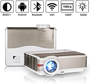 HD 1080P Projector with WiFi Bluetooth 5000 Lumen WXGA LED Outdoor Projectors Wireless HDMI USB VGA, Compatibe with TV Stick PS4 Laptop Cell Phone Blu Ray DVD Home Theater Cinema Backyard Movie