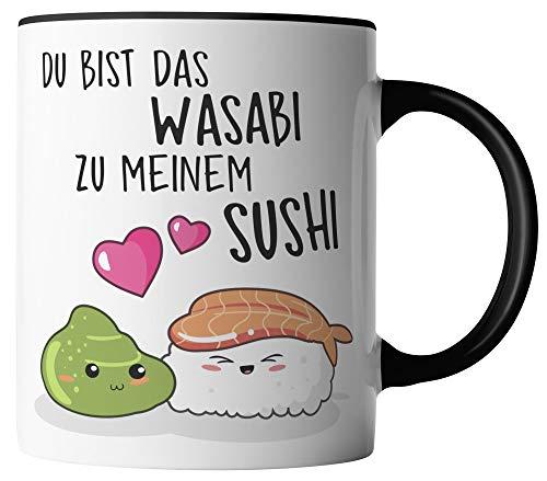 vanVerden Tasse - Du bist das Wasabi zu meinem Sushi - beidseitig Bedruckt - Geschenk Idee Kaffeetassen mit Spruch, Tassenfarbe:Weiß/Schwarz