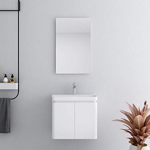 XINKROW Badezimmermöbel Waschbecken Kombischrank Hochglanz weiß Badezimmer Badmöbel Set 1 Spiegel 1 Keramik Waschtisch 1 Unterschrank mit viel Stauraum 60cm