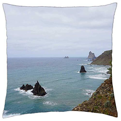 QUEMIN Tenerife Costa Norte Costa mar océano Islas Funda de Almohada Cuadrada Funda de Almohada Funda de Almohada decoración del hogar para Dormitorio sofá sofá 45 x 45 cm