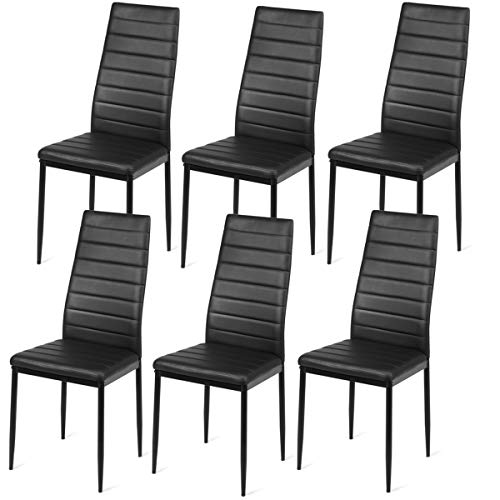 Giantex Set of 6 Dining Chairs with Steel Frame High Back PU Leather, Elegant Design for Home Kitchen Furniture, Black (6)