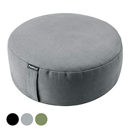REEHUT Yogakissen Meditationskissen, Yoga Sitzkissen Rund Durchmesser 33cm/Höhe 11,5 cm aus Baumwolle und Buchweizenschalen