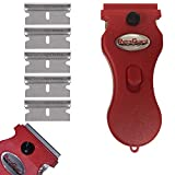 Werxrite RetraGuard Multipurpose Razor Blade Scraper for Glass & Ceramic Stovetops, Tile, Glass Sticker & Adhesive Removal, Paint Scraping, Metal and more (Scraper + 5 Replacement Blades, Red)