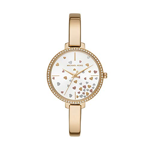 Michael Kors Women Jaryn Quartz Stainless Steel Gold with Gold Rose Gold Silver White Dial Watch MK3977