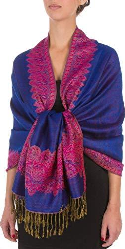 Blue Elegant Reversible Paisley Border Pattern Pashmina Shawl Wrap Scarf Double Layer #WSAS