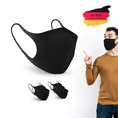 BartZart EIS Seide Fashion Masken schwarz I Unisex waschbare und Wiederverwendbare Masken (5 Stück)