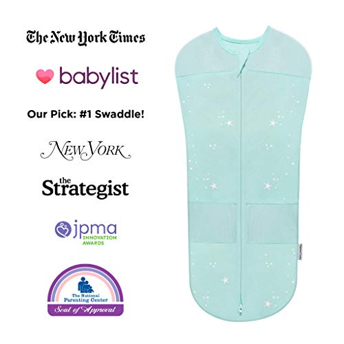 Happiest Baby Sleepea Swaddle, Doctor Designed 5-Second Swaddle, Hip Safe, for The Best Sleep, Baby Doesn't Get Upset by Accidentally Rubbing Hands on Face (Teal, Small)