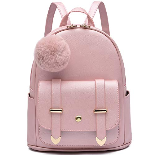 Girls Fashion Backpack Mini Backpack Purse for Women Teenage Girls Purses PU Leather Pompom Backpack Shoulder Bag Gold Pink