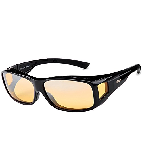 DUCO Polarisierte Nachtfahrtbrille Überbrille für Korrektionsbrille für Brillenträger Polarisierte Nachtsichtbrille (Schwarz-L)