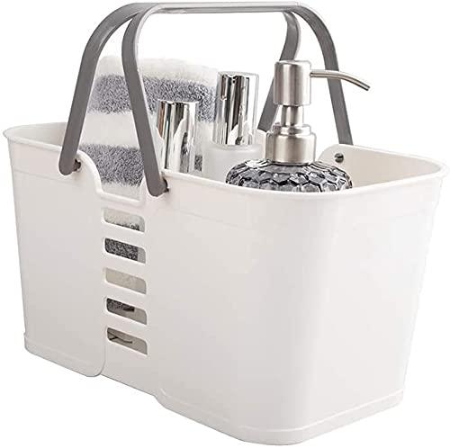 Basic corbeille rangement, Panier rangement en plastique avec poignées, corbeille rangement, organisateur de bacs de douche pour salle de bain et cuisin(Lot de 1-Blanc)