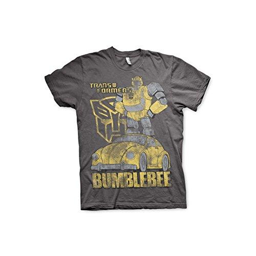 Transformers Maglietta Uomo Licenza Ufficiale Bumblebee Distressed Mezze Maniche (Grigio Scuro), XX-Large