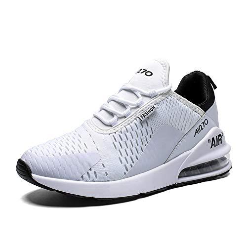 IceUnicorn Turnschuhe Sportschuhe Herren Damen Straßenlaufschuhe Outdoor Leichtgewichts Laufschuhe Atmungsaktive Fitness Schuhe(270 Weiß, 43EU)