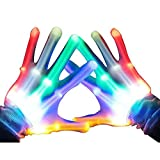 Light Up LED Skeleton Hand Gloves Halloween Toy – Autbye (2019 Enhanced Edition) Novelty Christmas Gift for Kids Masquerade Cosplay Festival Party Prop Scary Costume (Colorful Light)