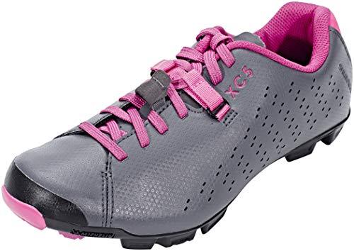 SHIMANO SH-XC5 - Zapatillas de Ciclismo de Piel sintética para Mujer Gris, Color Negro, Talla 39 EU