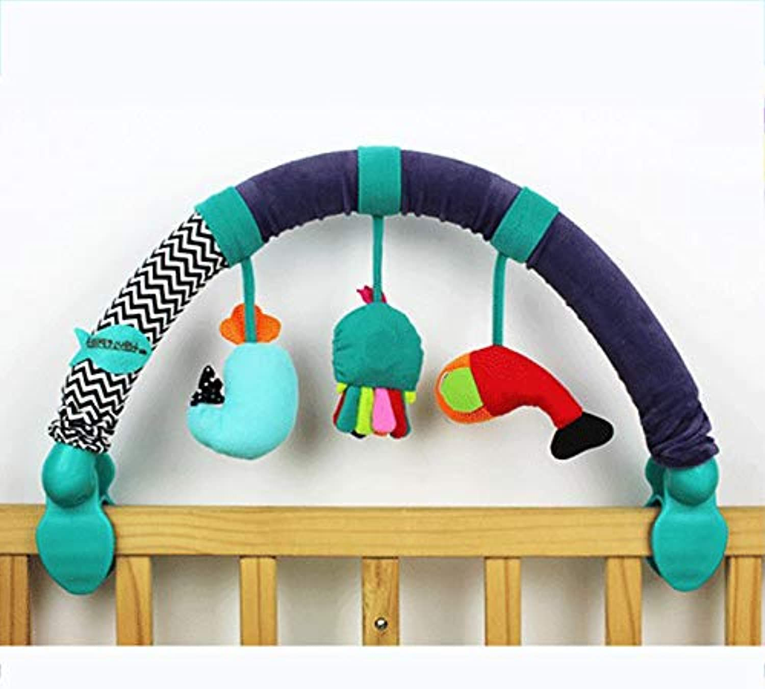 Baby Pram Crib Activity Arch Plush Stroller Clip Travel Activity with BB Device Music Bed Pendant Bed Bell Toys 0-2 Years Old Cumaky