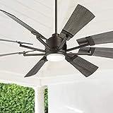 72' Casa Vieja Windmill Gray Oak and Bronze LED Ceiling Fan - Casa Vieja
