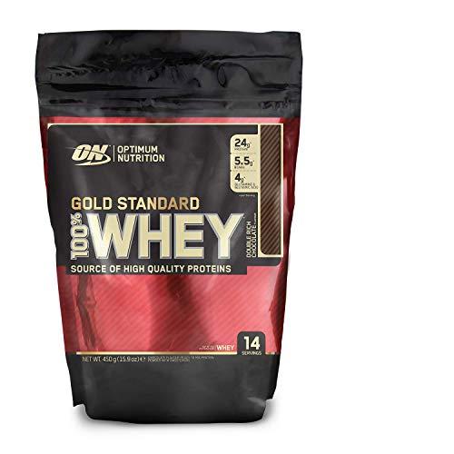 Optimum Nutrition ON Gold Standard 100% Whey Proteína en Polvo Suplementos Deportivos, Glutamina y Aminoacidos, BCAA, Double Rich Chocolate, 14 porciones, 450g, Embalaje puede variar