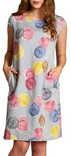 Caspar SKL033 leichtes knielanges Damen Sommer Leinenkleid mit Punkte Print, Farbe:hellgrau, Größe:L - DE40 UK12 IT44 ES42 US10