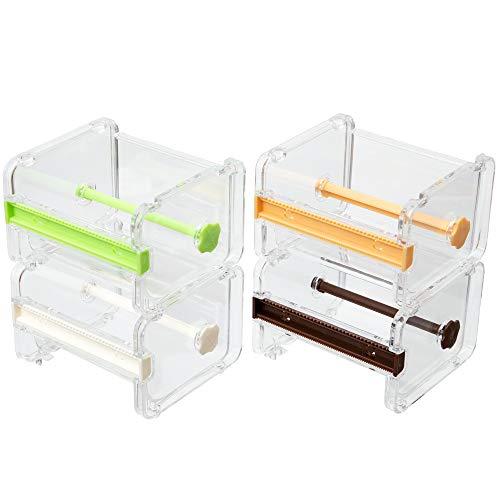 Molshine 4 Pack Transparent Visible Desktop Multi Washi Masking Tape Dispenser,Tape Cutter,Roll Tape Holder (Not Include Masking Tape) (Beige/Green/Brown/Yellow)