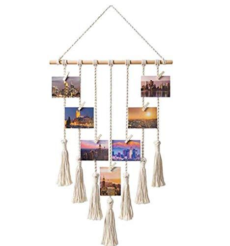 TIREOW - Espositore per foto sospesa – tappezzeria in cotone con pompon bohémien, corda di corda da parete in cotone (dimensioni: circa 60 x 40 cm)