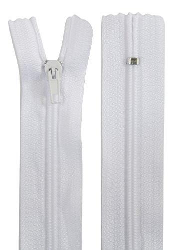 50 Reißverschlüsse, 40 cm lang, 24 mm breit, spiral, Farbe: weiß