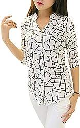J B Fashion Womens Animal Print Regular fit (Shirt White Large)