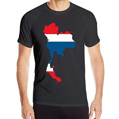 Pa¨ªs de Tailandia con la Bandera tailandesa Camisetas Gen¨¦ricas de Manga Corta para Hombres Camisetas de Jogging de Secado r¨¢Pido XXX-Large