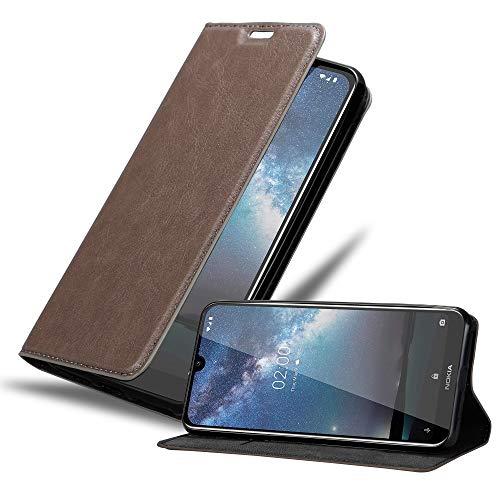 Cadorabo Hülle für Nokia 2.2 in Kaffee BRAUN - Handyhülle mit Magnetverschluss, Standfunktion & Kartenfach - Hülle Cover Schutzhülle Etui Tasche Book Klapp Style