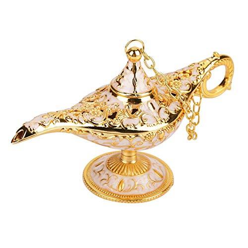 Leyenda Aladdin Magic Genie Lámpara de luz Metal Tallado Hueco Que Desea(Jin Bianbai)