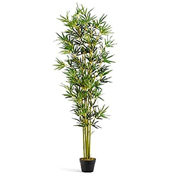 HAPPYGRILL Artificial Bamboo Tree Greenery Plants in Nursery Pot Fake Decorative Trees for Home Office 6Ft High