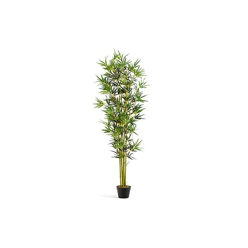 silk flower arrangements happygrill artificial bamboo tree greenery plants in nursery pot fake decorative trees for home, office, 6ft high