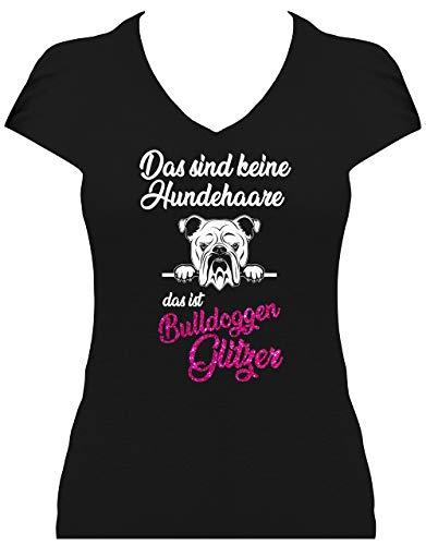 BlingelingShirts Shirt Damen Glitzer Englische Bulldogge Das sind Keine Hundehaare das ist Bulldoggen Glitzer Hund, T-Shirt, Grösse S, schwarz Druck weiß und pink GL