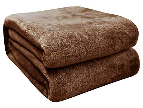 FARFALLAROSSA Fleece Blanket Microfiber Blanket Solid Color Super Soft Cozy for Sofa Bed Travel Brown 50x60
