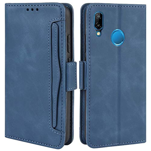 HualuBro - Custodia a portafoglio per Huawei P20 Lite 2018, in pelle, con scomparto per carte di credito, per Huawei P20 Lite 2018, colore: Blu