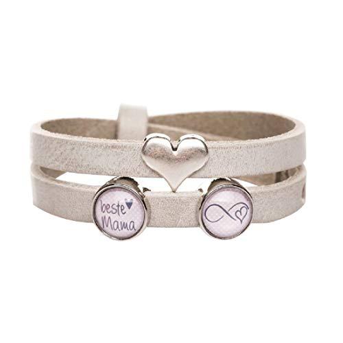 KT-Schmuckdesign Lederarmband - rosa grau, Herz Symbol & 2 Schiebeperlen mit Motiv