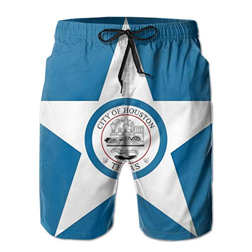 Men's Beach Shorts Flag of Houston in Texas Quick-Drying Short Pants