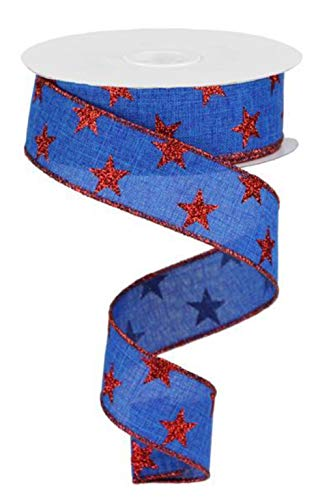 Stars Wired Edge Ribbon - 10 Yards (Royal Blue, Red, 1.5')