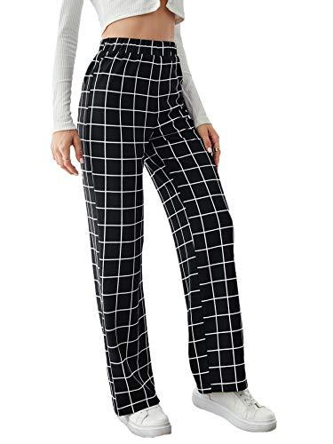 SheIn Women's Plaid High Elastic Waist Pants Casual Work Office Long Trousers Black Plaid Medium