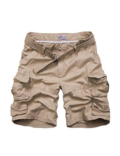 Bestgift Herren Vintage Cargo Shorts Kurz Hose Freizeit Hose Multi-Tasche Khaki Aisa XXL(EU XL)