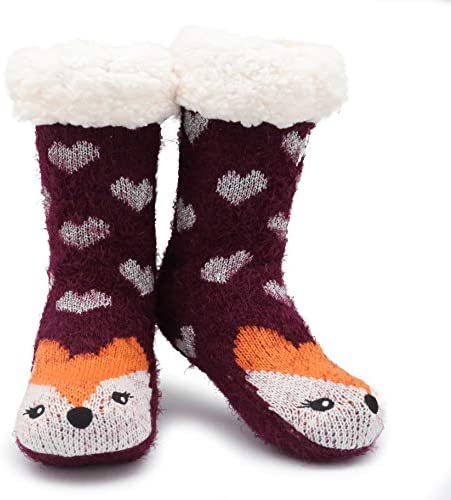 Slipper Socks Size 4-8 Thermal Thick Sherpa Fleece Fur Lining Perfect Comfort and Warmth