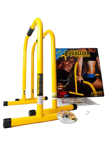 Lebert Fitness Dip Bar Stand - Original Equalizer Total Body Strengthener Pull Up Bar Home Gym Exercise Equipment Dipping Station - Hip Resistance Band, Workout Guide and Online Group - Yellow