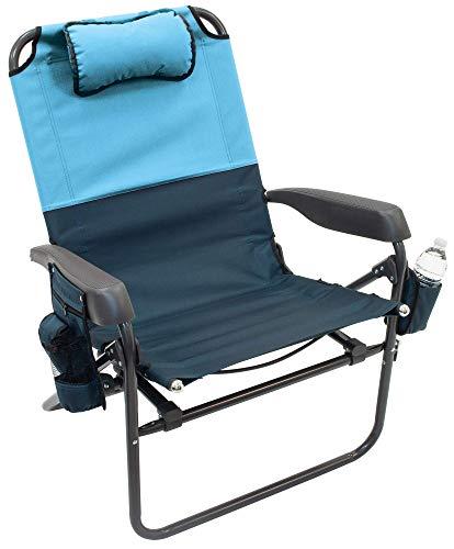 Rio Gear Sideline Folding Outdoor Lightweight Rocker Chair - Blue Sky/Navy