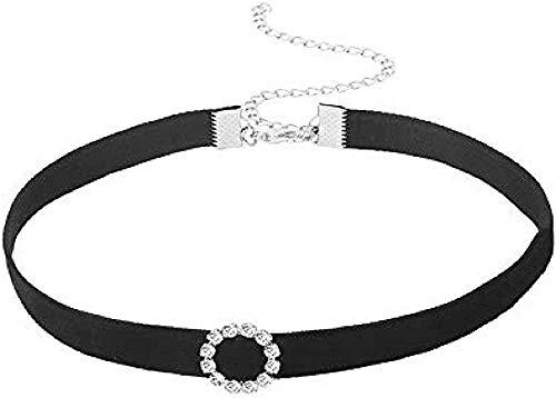 LKLFC Collar Mujer Collar Hombre Colgante, Collar Corto de Cuero Negro ailecium para Mujer Collar Niñas Niños Regalo
