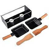 Blusea Set per Raclette Formaggio, 2 Padella per Fondere Il Formaggio Antiaderente Set per Raclette Portatile a Lume di Candela con Spatola Utensile in Metallo con Manico in Legno