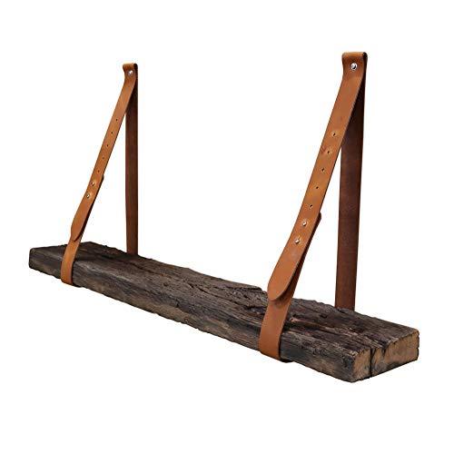 Steigerhoutpassie - Leren plankdrager - Cognac - Verstelbaar - Set - Eiken - Wagondeel Geborsteld - Echt Oud Eiken - 90cm